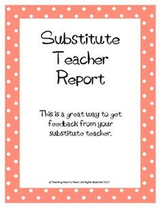 ... Substitute Teacher Feedback Form suppli teacher, substitut teacher