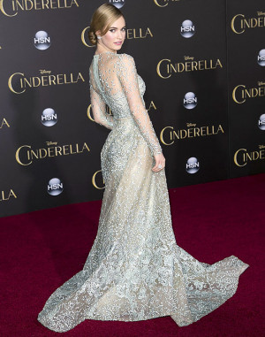 Lily James in louboutin cinderella shoes
