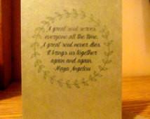 Kraft Sympathy Card : Maya Angelou Quote Kraft Sympathy Card ...