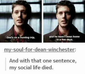 dean winchester, hunter, jensen ackles, quotes, season 1, social life ...