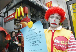Ronald McDonald quits in protest when he learns that his hens are fed ...