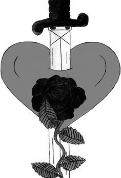 Broken Heart With Knife Drawing Knife through heart drawing