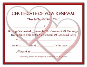 Vow Renewal Certificate Linked Hearts And Red Frame