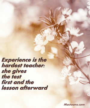 Experience if the hardest kind of teacher. If gives you the test first ...