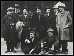 Ezra Pound with Tristan Tzara, Man Ray, Jean Cocteau, and others.