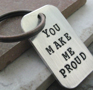 You Make Me Proud, custom quote key chain, antique copper split ring ...