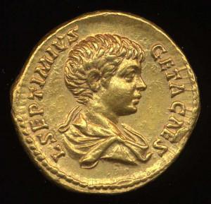 Obverse image of a coin of Publius Septimius Geta