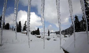 Icicles hang from the roof of a building in Gulmarg, 55km (34 miles ...