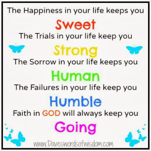 happiness in your life keeps you sweet trials in your life keeps you ...