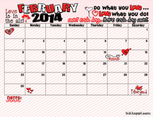 2014 February calendar free printable from inkhappi.com