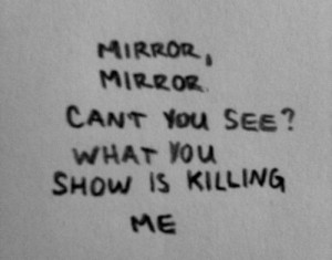 and White sad suicide skinny kill dream fat mirror self harm self hate ...
