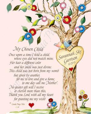 ... Girl Adoption Poem Chosen Child Art Print- Personalized Adoption Gift