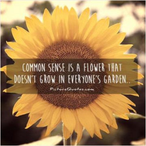 Common sense is a flower that doesn't grow in everyone's garden..