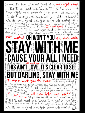 Stay With Me Lyrics Stay with me - sam smith