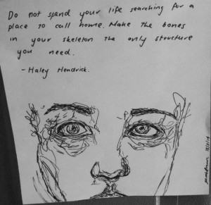 art, b&w, black, drawing, eyes, face, grunge, pale, quote, sketch ...
