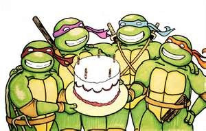 Happy birthday - Ninja Turtles with bday cake