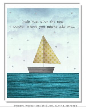 Whimsical Sailboat Art. Yellow And Blue Nursery Art. Sailing Quote ...