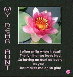 ... aunts poems ecards poems for aunts water lilly picture sentimental e