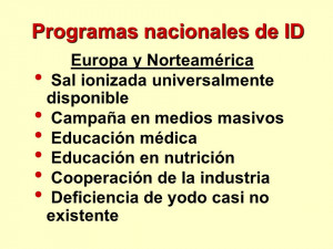 Programas nacionales de ID Europa y Norteamérica Sal ionizada ...