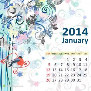 2014年1月日历 (eps)