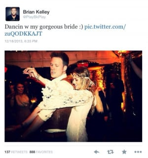 Brian Kelley and his wife on their wedding day! The amount that he's ...
