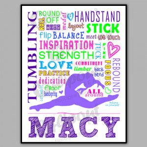 The Word I Love Gymnastics Girls tumbling word art purple