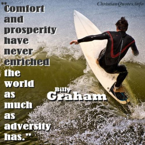 Billy Graham Quote - Adversity - Surfer on the waves