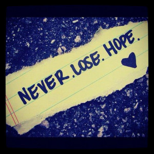 Wallpaper with Quotes about Hope: Never lose hope