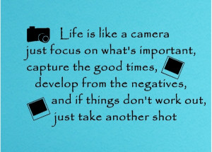 Life Is Like A Camera Just Focus On What's Important.....