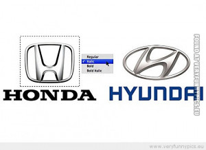 Funny Picture - Honda Hyundai logo italic