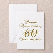 60th Anniversary (Gold Script) Greeting Cards (Pk for