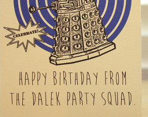 Doctor Who Birthday card - Dalek - Tardis - Dr Who - geeky - party ...