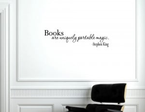 Books are uniquely portable magic - Vinyl wall decals quotes sayings ...