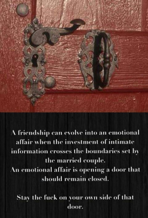Secret relationships/friendships. Crossing boundaries in marriage ...