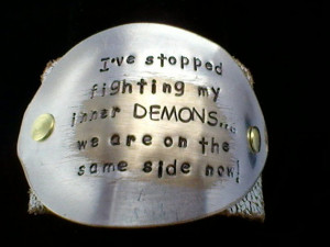 ve Stopped Fighting My Inner Demons - upcycled leather cuff-hand ...