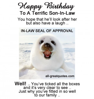 Happy Birthday Son-In-Law Cards – Son-In-Law Seal Of Approval
