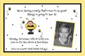 8th Birthday Invitation for Mandy ~ Ba Bee Photo Card