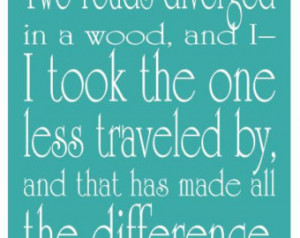 ... , Farewell, or Graduation - Robert Frost Poem Teal Typography