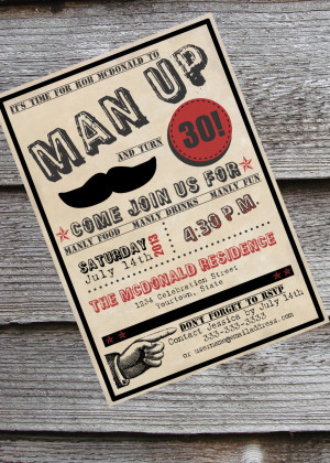 30th Birthday Quotes For Him Man-up guy's 30th or 40th