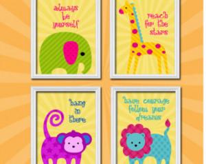 ... Bright Crib Animal Encouraging Quote Set of 4 Prints Baby Decor