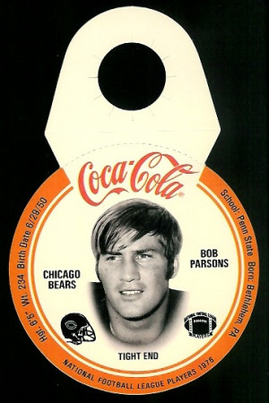 Bob Parsons 1976 Coke Bears Discs football card
