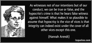 or false, and the hypocrite's crime is that he bears false witness ...