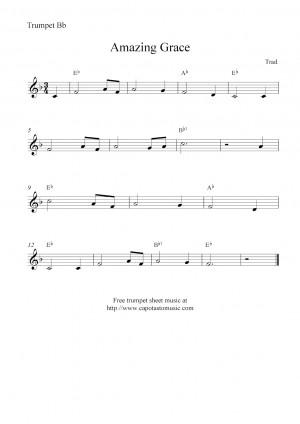 ... Sheet Music Scores : Amazing Grace , free trumpet sheet music notes