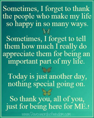... special going on so thank you all of you just for being here for me