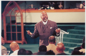 photo taken in 1996 shows Bishop T.D. Jakes preaching during the ...