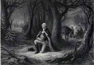 George Washington praying under trees; military camp in background.