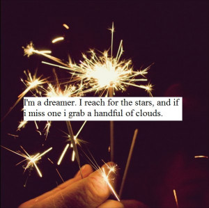 clouds, dreamer, fireworks, quote, reach for the sky, sparks, stars