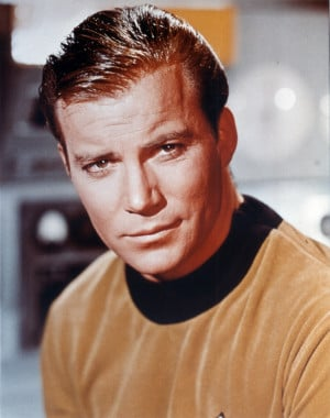 William Shatner as Kirk in a promotional photo...