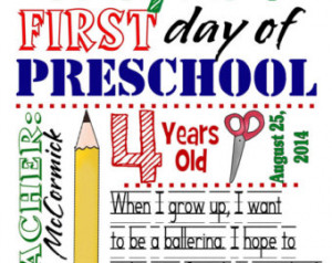 day of school subway sign dig ital download personalized preschool ...