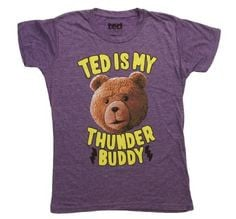 Ted T-shirt Juniors Movie Ted is My Thunder Buddy Purple Heather Shirt ...